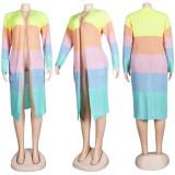 (ebay price:$35.52)Women Long Sleeve Colors Patchwork Pockets Cardigan Outwear