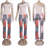 (ebay price:$27.66)Women Irregular Solid T-shirt Stripe Print Long Pants Set 2pcs