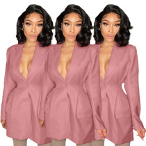 (ebay price:$28.7)Women Tailored Neck Long Sleeve Solid Color Single-breasted Suit Jacket