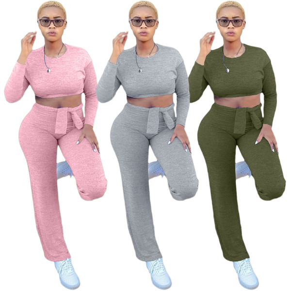 (ebay price:$30.29)Women Long Sleeve Solid Color Tie-up Casual Home Outfits 2pcs