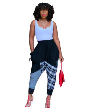 (ebay price:$25.41)Women Elastic Waist Checks Print Patchwork Casual Long Pants