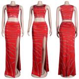 (ebay price:$35.35)Women Sleeveless Crop Top Solid Color Rhinestone High Slit Dress 2pcs