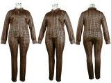 (ebay price:$34.12)Plus Size Women Long Sleeve Buttons Shirt Printed Long Pants Set