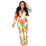 (ebay price:$38.24)Women Tailored Neck Long Sleeve Floral Print Casual Suit 2pcs
