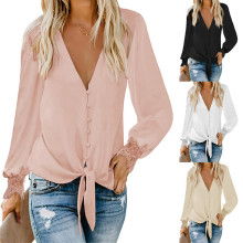 (ebay price:$20.47)Women V Neck Long Sleeve Buttons Tie-up Solid Color Shirt Blouse