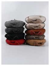 (ebay price:$16.03)Women's Ladies Fashion Solid Net Bowknot Woolen Beret Cap