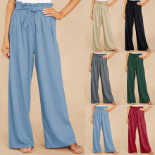 (ebay price:$23.45)Women Elastic Waist Tie-up Pockets Solid Casual Home Long Pants