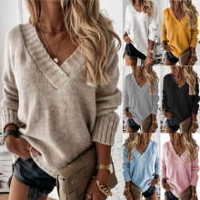 (ebay price:$30.24)Women V Neck Long Sleeve Solid Color Simple Sweater Knitted Tops