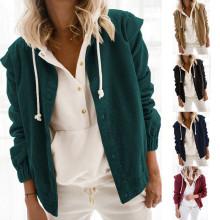 (ebay price:$28.4)Women Long Sleeve Buttons Solid Corduroy Shirt Coat