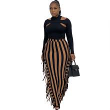 (ebay price:$19.88)Women's fringe striped print tight skirt