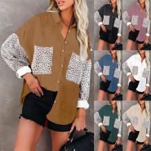 (ebay price:$28.08)Women Turn-down Neck Long Sleeve Buttons Leopard Patchwork Corduroy Shirt