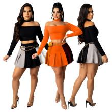 (ebay price:$23.22)Women Boat Neck Long Sleeve Top Color Block Pleated Skirt Set