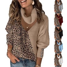 (ebay price:$21.98)Women High Neck Long Sleeve Hollow Out Leopard Patchwork Sweater