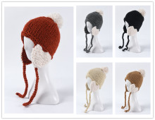 (ebay price:$13.1)Women's Girls Cute Pure Color Consise Fall Winter Warm Knitted Hat