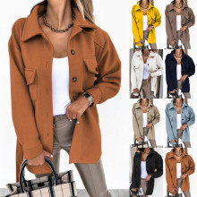 (ebay price:$36.04)Women Fashion Solid Color Turn-down Neck Long Sleeve Buttons Belted Woollen Coat