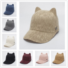 (ebay price:$13.8)Women's Cute Pure Color Baseball Cap with Cat Ears