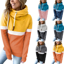 (ebay price:$27.63)Women Hooded Long Sleeve Patchwork Fall Winter Fleece Sweatshirt