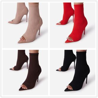 (ebay price:$33.57)Women's ladies fashion casual solid fish head thin heel Martin boots