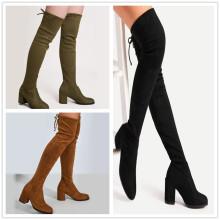 (ebay price:$48.26)Women's ladies fashion casual solid thick heel boots