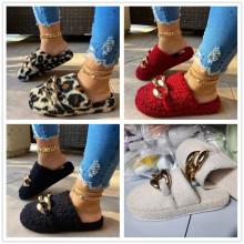 (ebay price:$30.52)Women's ladies fashion chain casual home platform cotton slippers