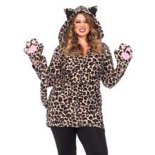 (ebay price:$34.4)Plus Size Women Cute Hooded Long Sleeve Leopard Print Zipper Coat with Gloves