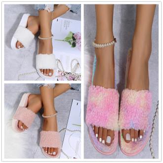 (ebay price:$25.4)Women's ladies fashion casual home fluffy platform slippers sandals