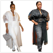 (ebay price:$21)Women Long Sleeve Mesh Patchwork Drawstring Solid Coat Outwear