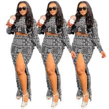 (ebay price:$32.38)Women Long Sleeve High Low Top Printed High Slit Skirt Set 2pcs