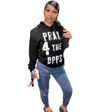 (ebay price:$22.61)Women Hooded Long Sleeve Letter Print Sweatershirt Tops