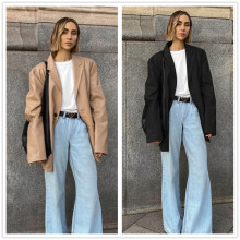 (ebay price:$36.86)Women Tailor Neck Long Sleeve Buttons Solid PU Suit Jacket