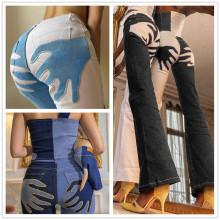 (ebay price:$37.59)S-L Women Applique Color Block Pockets Long Boot-cut Denim Jeans