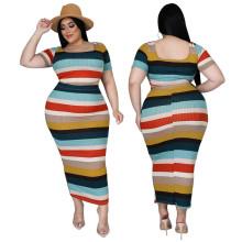 (ebay price:$28.54)Plus Size Women Square Neck Short Sleeve Top Stripe Print Pencil Skirt Set 2pcs