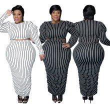 (ebay price:$38.21)Plus Size Women Fashion Long Sleeve Stripes Printed Ruched Bodycon Dress 2pcs