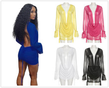 (ebay price:$19.08)S-L Women Cowl Neck Long Sleeve Backless Drawstring See Through Mesh Dress 2pcs