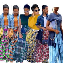 (ebay price:$29.52)S-4XL Women Checks Print Patchwork Loose Irregular Long Skirt