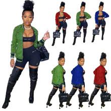 (ebay price:$33.88)Women Long Sleeve Plaids Print Zipper Pockets Jacket Outwear