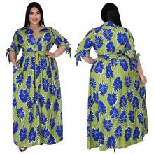 (ebay price:$39.82)Plus Size Women Tie-sleeve Printed Single-breasted Pockets Fashion Long Dress