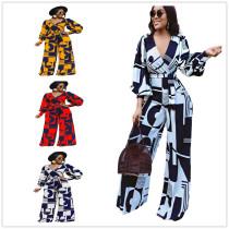 (ebay price:$41.44)Women V Neck Long Sleeve Printed Belted Long Wide Leg Jumpsuit