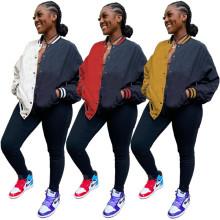 (ebay price:$33.88)Women Long Sleeve Color Block Zipper Pockets Jacket Outwear