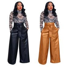 (ebay price:$40.24)Women High Waist Zipper Belted Pockets Solid PU Long Wide Leg Pants