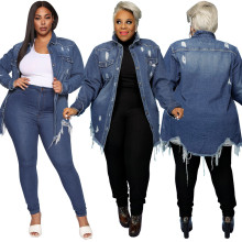 (ebay price:$39.41)Plus Size Women Turn-down Neck Long Sleeve Buttons Distressed Denim Coat Outwear