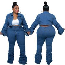 (ebay price:$62.89)Plus Size Women Long Sleeve Buttons Coat Ruched Solid Color Denim Pants Set