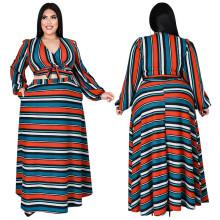 (ebay price:$39.20)Plus Size Women V Neck Long Sleeve Tie Top Stripe Print Pockets Long Skirt Set