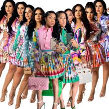 (ebay price:$32.17)Women Long Sleeve Buttos Shirt Printed Pleated Skirt Set 2pcs
