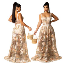 (ebay price:$34.78)XS-3XL Women Shoulder Strap Bodysuit See Through Embroidered Skirt Set 2pcs