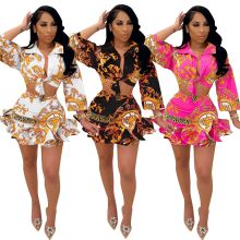 (ebay price:$28.09)Women Turn-down Neck Puff Sleeve Buttons Tie Shirt Printed Ruffled Skirt Set