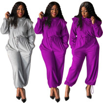 (ebay price:$33.53)Women Long Sleeve Zipper Drawstring Waist Pockets Solid Color Long Jumpsuit