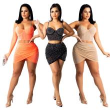 (ebay price:$23.88)Women Sexy Spaghetti Strap Rhinestone See Through Irregular Dress 2pcs