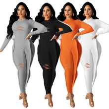 (ebay price:$31.74)Women's autumn new style ripped hole elastic tight-fitting  jumpsuit