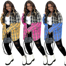(ebay price:$23.48)Women's plaid print two-color stitching long-sleeved blouse dress
